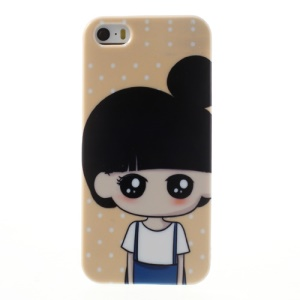 Cute Girl & Polka Dot for iPhone 5 5s TPU Back Case