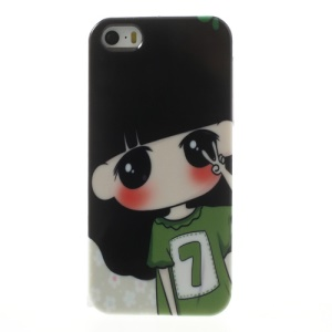 Cute Girl in Green T-shirt for iPhone 5 5s TPU Back Case