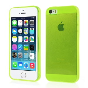 For iPhone 5 5s Transparent TPU Skin Cover - Yellowgreen