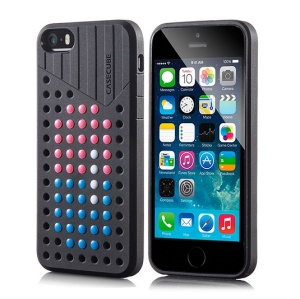 Black Casecube Hollow Dot DIY TPU Gel Case for iPhone 5s 5