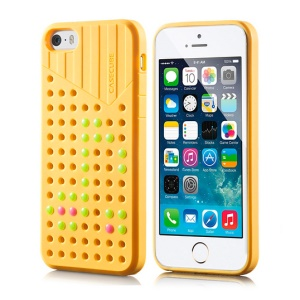 Yellow Casecube Hollow Dot DIY TPU Shell Case for iPhone 5s 5