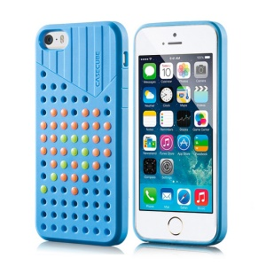 Blue Casecube Hollow Dot DIY TPU Cover Shell for iPhone 5s 5