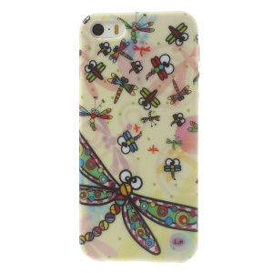 Glittery Powder TPU Skin Case for iPhone 5s 5 Colorized Dragonflies Design