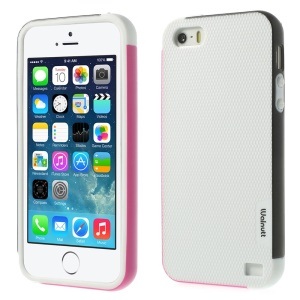 Walnutt Multi-color Edge Grid TPU Case for iPhone 5s 5 - White