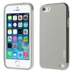Walnutt Multi-color Edge Grid TPU Case for iPhone 5s 5 - Light Grey