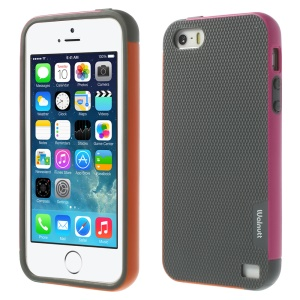 Walnutt Multi-color Edge Grid TPU Cover for iPhone 5s 5 - Dark Grey