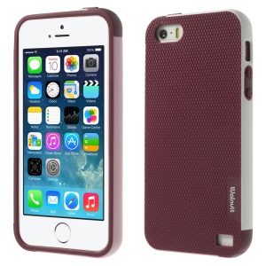 Walnutt Multi-color Edge Grid TPU Cover for iPhone 5s 5 - Wine Red
