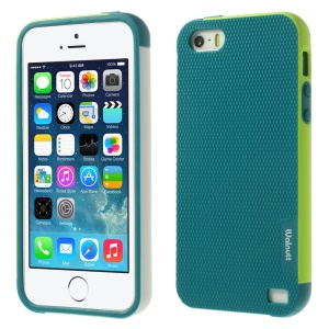 Walnutt Multi-color Edge Grid TPU Cover for iPhone 5s 5 - Water Blue