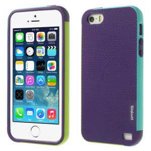 Walnutt for iPhone 5s 5 Multi-color Edge Grid TPU Gel Shell - Purple