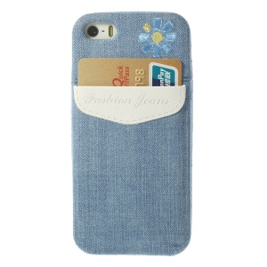 For iPhone 5s 5 Card Storage Pocket Blue Jean Skin Soft TPU Case - White