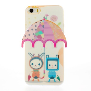 Two Babies Under Colorful Umbrella Blu-ray IMD TPU Case Cover for iPhone 5s 5