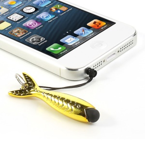 Gold Fish Capacitive Touch Pen for iPhone 5S 5C Samsung HTC, with 3.5mm Earphone Plug