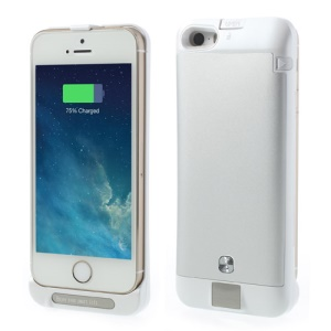 Silver for iPhone 5s 5c 5 2200mAh External Battery Power Pack Stand Case w/ Digital Indicator Multicolor LED