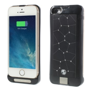 Black Sparkle Starry Sky 2200mAh Digital Indicator External Power Bank Case for iPhone 5s 5c 5
