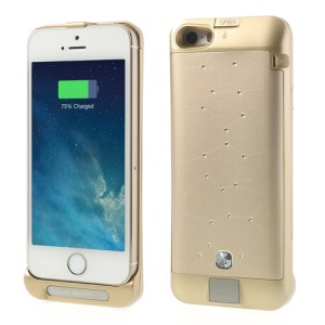 Champagne Gold Sparkle Starry Sky for iPhone 5s 5c 5 2200mAh Digital Indicator External Power Bank Case