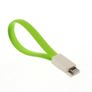 Green 22cm Flat 8-pin Magnet USB Data Charging Cable for iPhone 5s 5c 5 / iPad Air / iPad Mini / iPod Touch 5