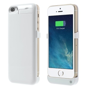 2200mAh Glossy External Battery Backup Charger Case w/ Stand for iPhone 5 5s 5c - White
