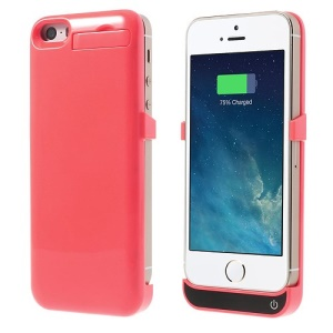 2200mAh Glossy External Battery Power Charger Case w/ Stand for iPhone 5 5s 5c - Pink