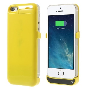 2200mAh Glossy External Battery Charging Case w/ Stand for iPhone 5 5s 5c - Yellow