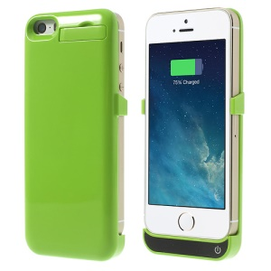 2200mAh Glossy External Battery Backup Charging Case w/ Stand for iPhone 5 5s 5c - Green