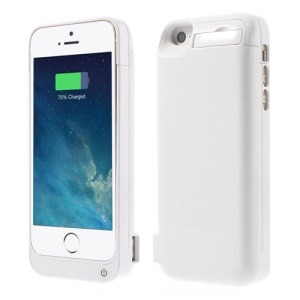 4200mAh Detachable Glossy Battery Charge Case w/ Stand for iPhone 5 5s 5c - White