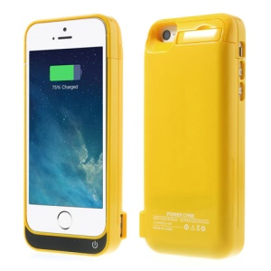 4200mAh Detachable Glossy Battery Backup Charging Case w/ Stand for iPhone 5 5s 5c - Yellow