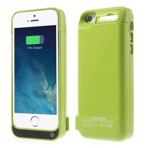 4200mAh Detachable Glossy Extended Backup Charger Case w/ Stand for iPhone 5 5s 5c - Green