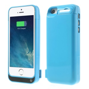 4200mAh Detachable Glossy External Backup Charger Case w/ Stand for iPhone 5 5s 5c - Blue