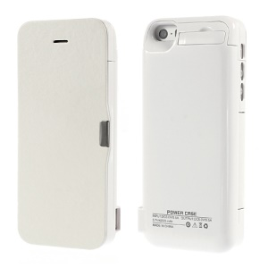 4200Ah Flip Style Leather Battery Charging Case w/ Stand for iPhone 5 5s 5c - White
