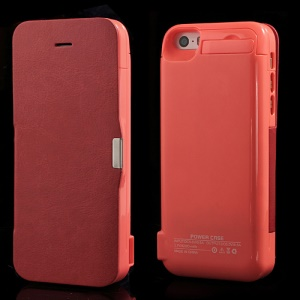 4200Ah Flip Style Leather Battery Backup Charging Case w/ Stand for iPhone 5 5s 5c - Red
