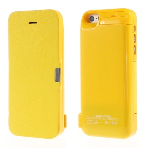 4200Ah Leather Flip Battery Backup Charging Case w/ Stand for iPhone 5 5s 5c - Yellow