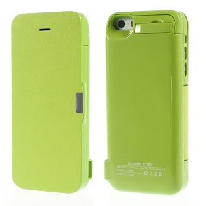 4200Ah Leather Flip Battery Charger Case w/ Stand for iPhone 5 5s 5c - Green