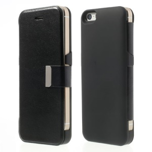 Black 2400mAh Magnetic Leather Flip External Battery Power Pack for iPhone 5 5s 5c