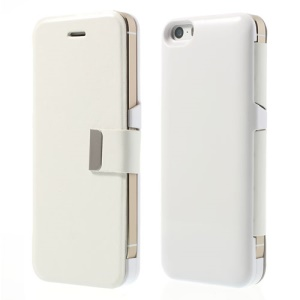 White 2400mAh Magnetic Leather Flip External Battery Power Pack for iPhone 5 5s 5c