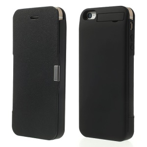 For iPhone 5 5s 5c 2400mAh External Power Backup Battery Magnetic Flip Leather Case w/ Stand - Black