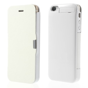 For iPhone 5 5s 5c 2400mAh External Power Backup Battery Magnetic Flip Leather Case w/ Stand - White