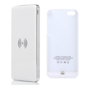 KLX for iPhone 5 5s 10000mAh Power Bank Qi Wireless Charger + Charger Case - White / Silver