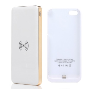 KLX for iPhone 5 5s 10000mAh Power Bank Qi Wireless Charger + Charger Case - White / Gold