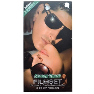 Wearing Glasses Cool Couple Cologne Perfume Smell Front + Back Skin Films for iPhone 5 5s