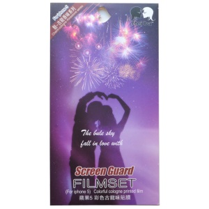 Cologne Perfume Smell Love Couple & Fireworks Front + Back Protector Films for iPhone 5 5s