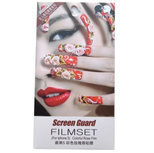 Rose Smell Flowered Manicures & Red Lips Front + Back Guard Films for iPhone 5 5s