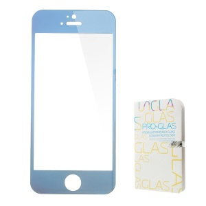0.3mm Colored-plating Tempered Glass Screen Protector Film for iPhone 5 5s - Blue