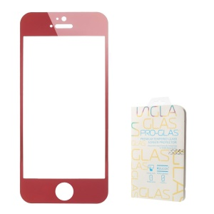 0.3mm Colored-plating Tempered Glass Screen Protector for iPhone 5 5s - Red
