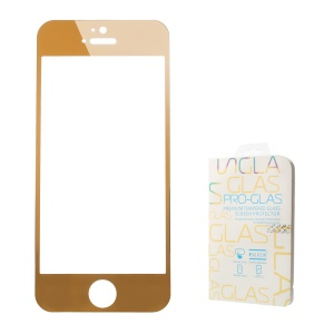 0.3mm Colored-plating Tempered Glass Screen Protector for iPhone 5 5s - Gold