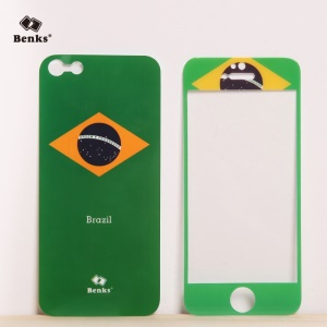 Benks for iPhone 5s 5 Magic AKR+ World Cup Brazilian Flag Tempered Glass Screen Film + PET Back Film