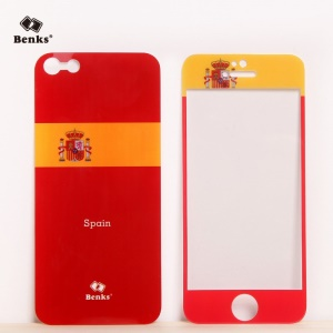 Benks for iPhone 5s 5 Magic AKR+ World Cup Spanish Flag Tempered Glass Screen Protector + PET Back Film