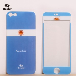 Benks for iPhone 5s 5 Magic AKR+ World Cup Argentinean Flag Tempered Glass Screen Film + PET Back Film
