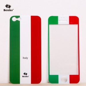 Benks for iPhone 5s 5 Magic AKR+ World Cup Italian Flag Tempered Glass Screen Protector + PET Back Film