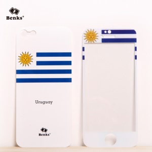 Benks for iPhone 5s 5 Magic AKR+ World Cup Uruguayan Flag Tempered Glass Screen Film + PET Back Film