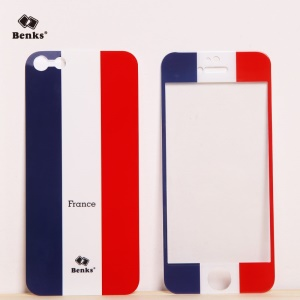 Benks for iPhone 5s 5 Magic AKR+ World Cup French Flag Tempered Glass Screen Film + PET Back Film